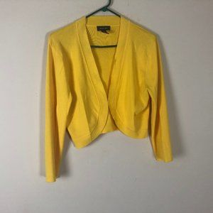 Spense L Cardigan Crop Yellow V Neck Long Sleeve